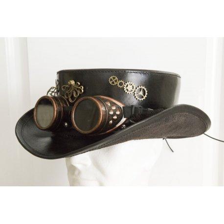 best place shoes for cheap thoughts on Haut de forme en cuir Noir Steampunk