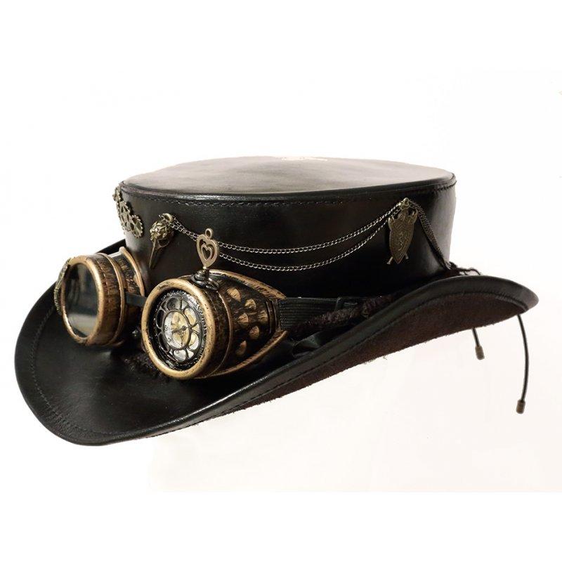 haut de forme en cuir noir steampunk avec montre chevalier du drac. Black Bedroom Furniture Sets. Home Design Ideas