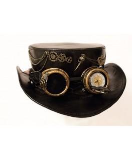 Haut de forme en cuir Noir Steampunk