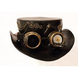 Haut de forme en cuir Noir Steampunk avec montre