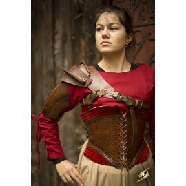 CORSET MARGOT EN CUIR MARRON/ROUGE