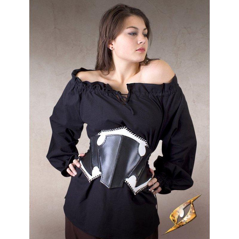 corset elfe noir en cuir noir et blanc chevalier du drac. Black Bedroom Furniture Sets. Home Design Ideas