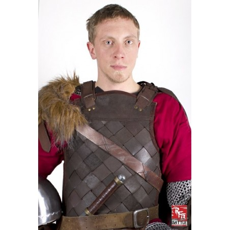 ARMURE VIKING EN CUIR MARRON