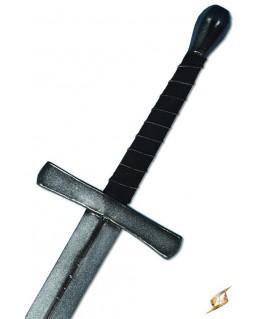 la poignée de cette épée en latex est recouverte de suédine