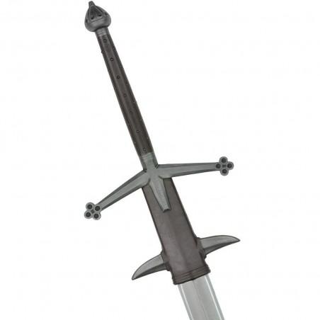 la garde de cette claymore est typiquement écossaise avec ses quillons inclinés terminés par un trèfle