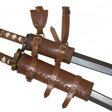 double fourreau en cuir de qualité pour porter deux épées ou deux sabres
