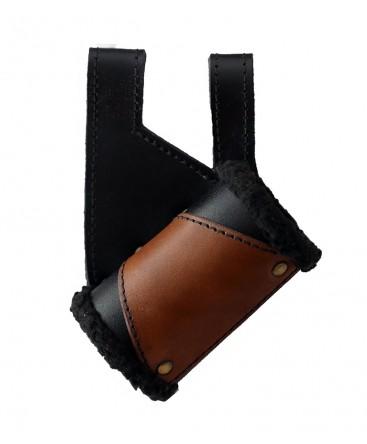 Fourreau en cuir noir de qualité doublé de cuir  brun