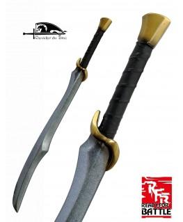 Cette épée d'elfe a un look de sabre mais une lame a double tranchant