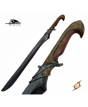 Une épée elfique de belle facture avec sa poignée style bois et bronze