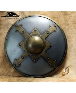 Un bouclier maniable avec un aspect acier et bronze pour l'ombo