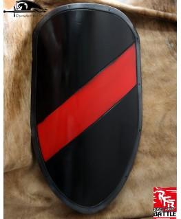 Un écu noir avec bande rouge, tout à fait classique  du 11ème siècle médiéval