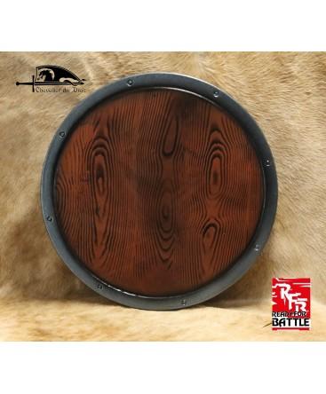 Une rondache plate avec effet bois cerclé de fer